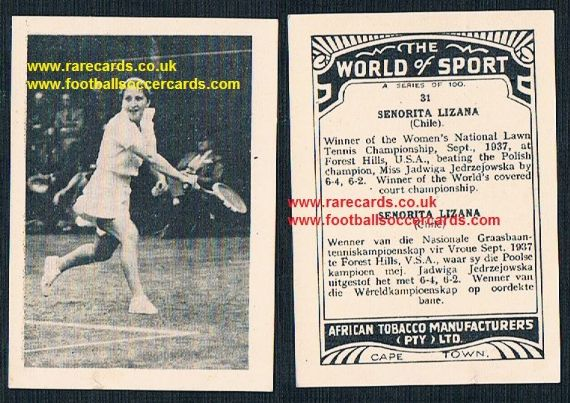1930's South African Tobacco Cape Town World of Sport Anita Lizana 31 tennis card